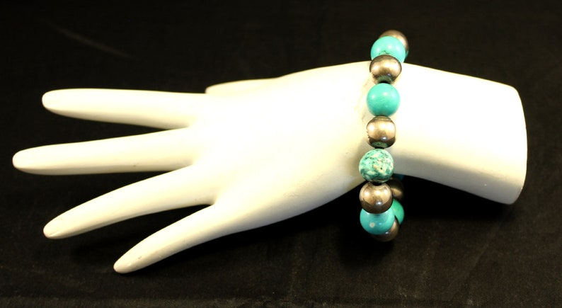Beautiful Turquoise Stone Beads Sterling Silver 925 Beaded 9.5 Bracelet 43.4g