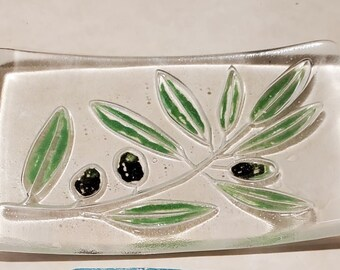 """Handmade Fused Glass Soap Dish with Olive Leaves and Olives.  3 1/2"""" x 5"""" double thick glass"""