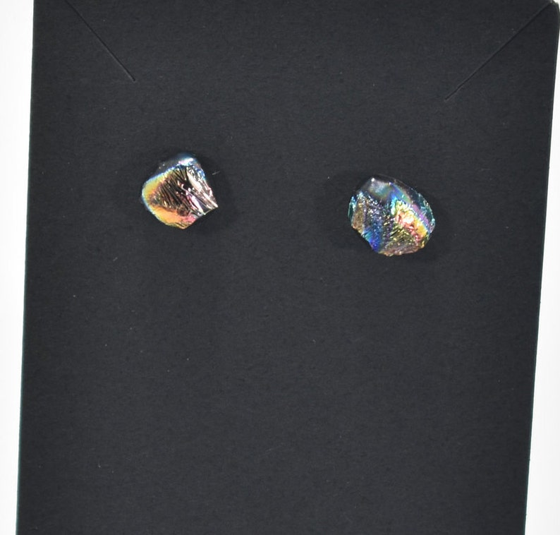 Dichroic Rainbow Fused Glass Earrings  #52 on Stainless Steel Hypoallergenic Studs 7mm