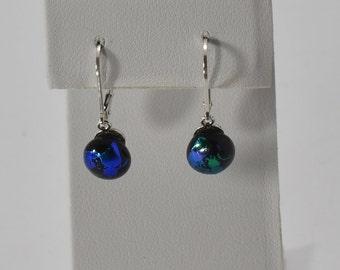 Interchangeable Dichroic Fused Glass Earrings #98 on Sterling Silver .925 Leverback wires  Dangle Earrings