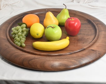 """Extra Large Ottoman Tray Solid Black Walnut  22 1/2"""" x 1 1/2"""" Serving Tray Handmade in the USA  Round Coffee Table Tray"""