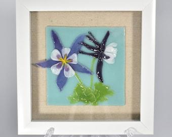 Handmade Fused Glass Framed Art Tile Columbine Framed in an 8x8 Shadowbox Purple Flower