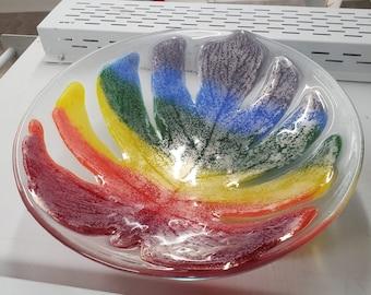 LGBT Pride Rainbow Monstera Leaf Bowl  Fused Glass LGBTQIA+ Gay Pride Flag Leaf