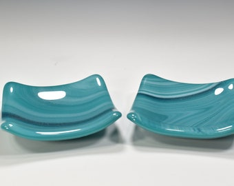 Fused Glass Food Safe Dishes 3x3 inches Green Blue Swirl with Sparkles for Sushi with sauce dishes  double thick