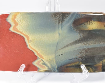 Handmade Fused Glass Rectangular Serving Plate made from Reaction Glass  10 1/2 x5 1/2  Sushi Platter Plate 1
