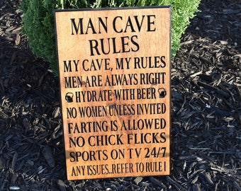 Gift For Him, Funny Gifts, Mens Gift, Gift For Men, Man Cave, Man Cave Decor, Wooden Sign, Wood Sign, Wood Signs, Wood Carving,  Family Sign