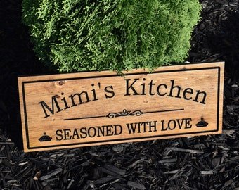 Grandma Gift, Grandparents Sign, Personalized, Grandmas Kitchen, Grandkids Sign, Grandchildren Grandpa Gift, Family Name Sign, Wood Carving