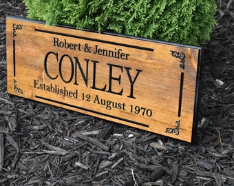 Personalized 50th Anniversary Gifts, 50th Anniversary Gifts For Parents, 50 Year Gold Wedding Anniversary Gift, Last Name Sign,  Family Name