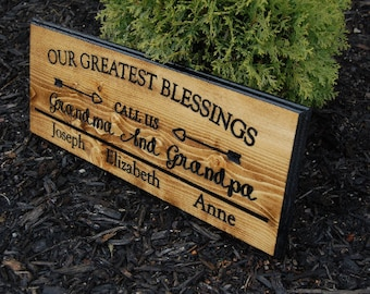 Grandma Gift, Grandparents Sign, Personalized,50th Anniversary Gifts,Grandkids Sign,Grandchildren,Grandpa Gift,Family Name Sign,Wood Carving