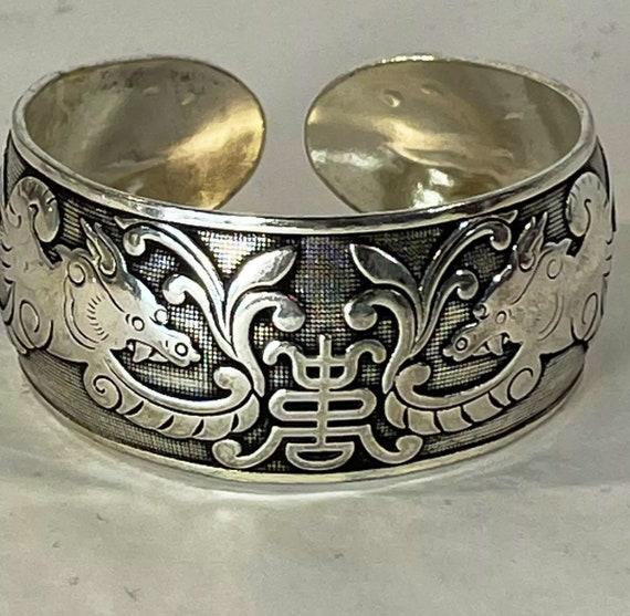 Turtle Bangle  Cuff  Bracelet  Tibetan Silver  Vintage