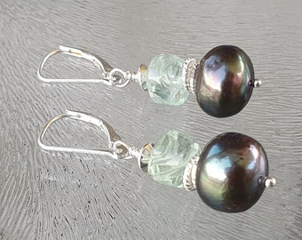Fluorite and peacock pearl earrings, sterling silver 925, free shipping