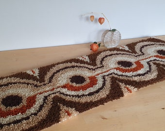 Smyrnafix table runner or carpet, latch hook tapestry, hand made, Panton Era