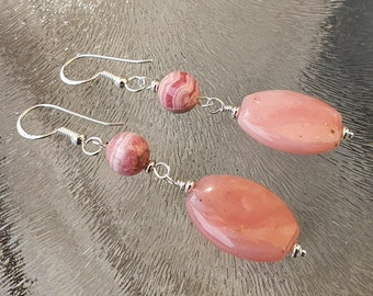 Hand made earrings with pink opal and rhodochrosite, sterling silver 925, free shipping