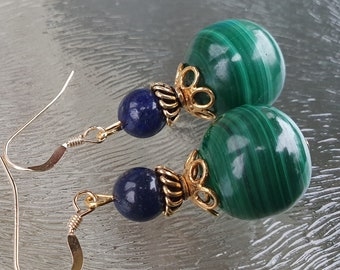 Malachite earrings with lapis lazuli, 14k gold filled, hand made De Blije Ekster