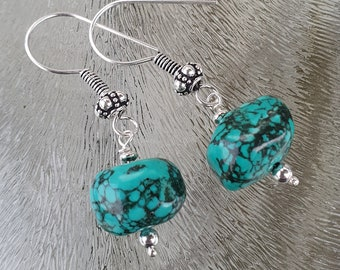 Turquoise earrings in sterling silver 925, hand made De Blije Ekster
