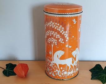 Vintage tin, Dutch, Verkade, tin for biscuits, cream and orange, 670s