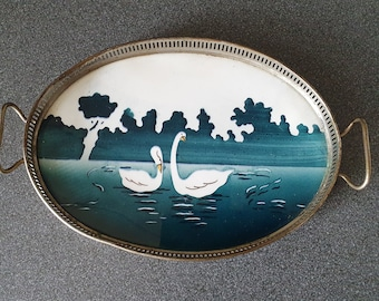 Art deco, antique porcelain tray with metal trim, decorated with swans