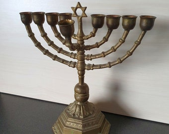 Vintage Hannukiah or Hannukah menorah, brass, 9 arm candelabra with star of David