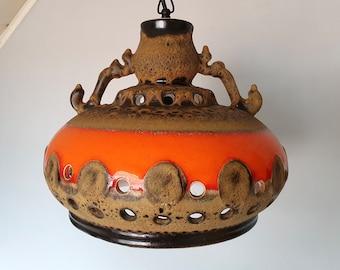 Pendant light, Linus Bopp, fat lava ceramic lamp, 70s or 60s German lamp