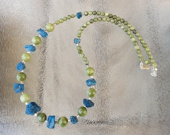 Apatite beaded necklace with jade beads and sterling silver spacers