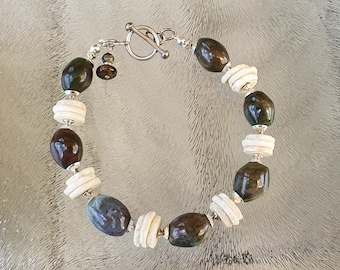 Hand made bracelet with vintage beads: jasper gemstone and ostrich eggshell heishi beads