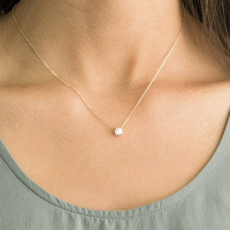 Gold Dainty Necklace Delicate Simply Chain Solitaire Necklace Simple Chain Necklace Birthday Gift for Her 14K Gold Plated 925 Silver