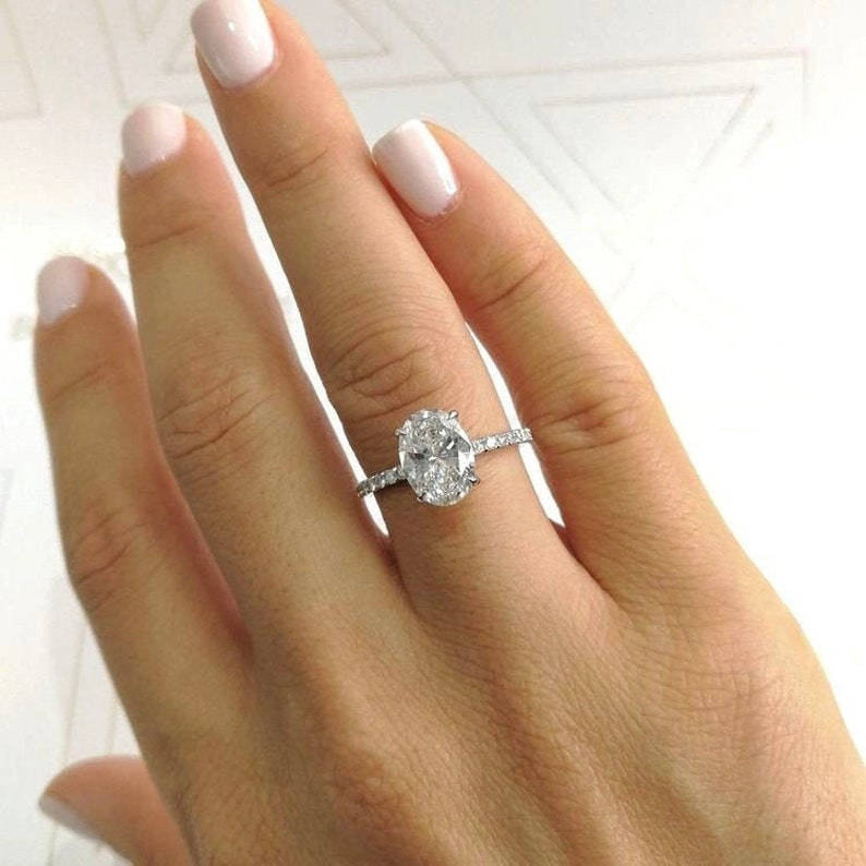 Oval Solitaire Ring Engagement Ring Promise Ring Wedding image 4
