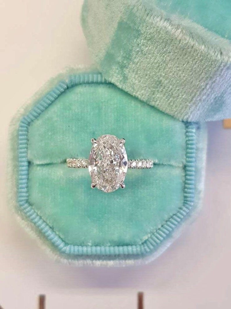 Oval Solitaire Ring Engagement Ring Promise Ring Wedding image 0