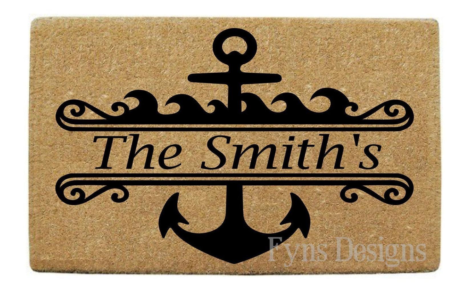 Custom Welcome Mat Nautical Door Mat Custom Doormat Outdoor Rugs Welcome Mat Monogrammed Door Mat Rugs Custom Welcome Mat Holiday Gift