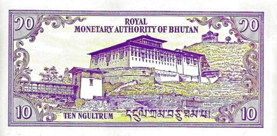 Low Serial no Bhutan 1986-10 Ngultrum Banknote UNC