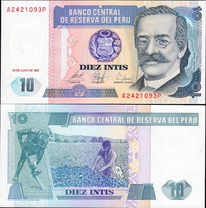 Peru 1987 10 Intis Prefix /'A/' Banknote UNC