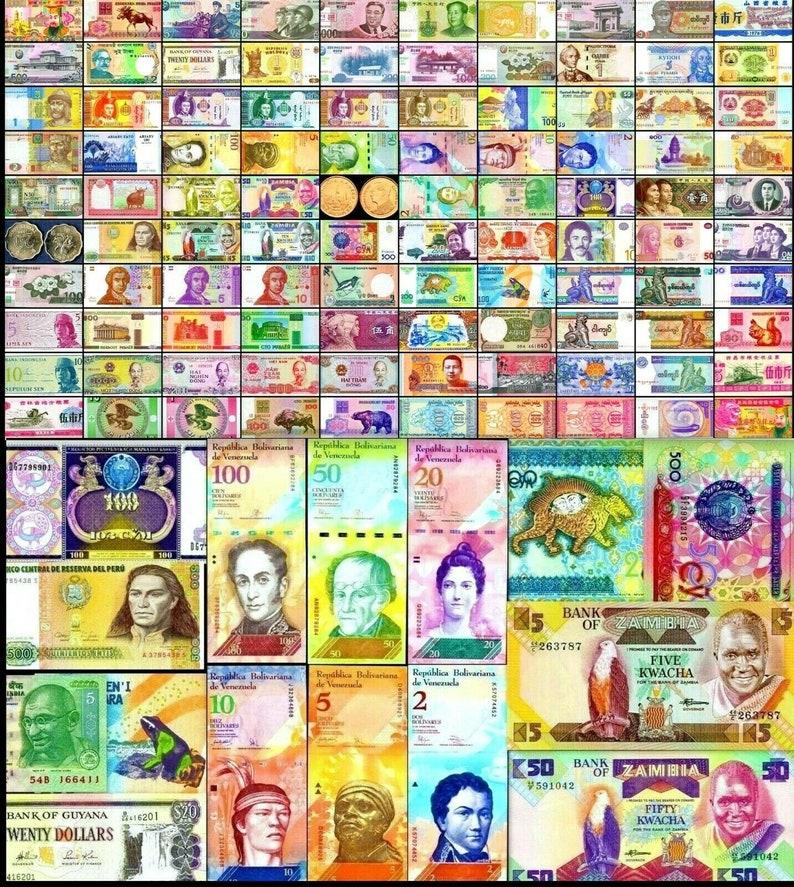 100 Different Types World Currency, Specimen, Venezuela set of 6, All New,  UNC