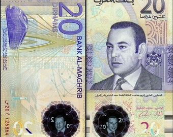 Morocco 2000's > 20 Dirhams, Commemorative Polymer,Note UNC