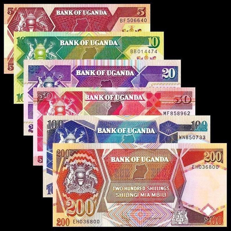 Uganda 1987-1989 /> 5// 10// 20// 50// 100// 200 Shillings Banknote set of 6 UNC