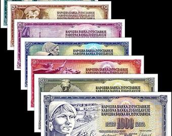 Yugoslavia 1965-1986 > 5/10/20/50/100/500/1000, Banknote set of 7 UNC
