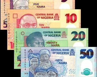 Nigeria 2000's > 5 /10 /20 /50 Naira, Polymer Note set of 4 UNC