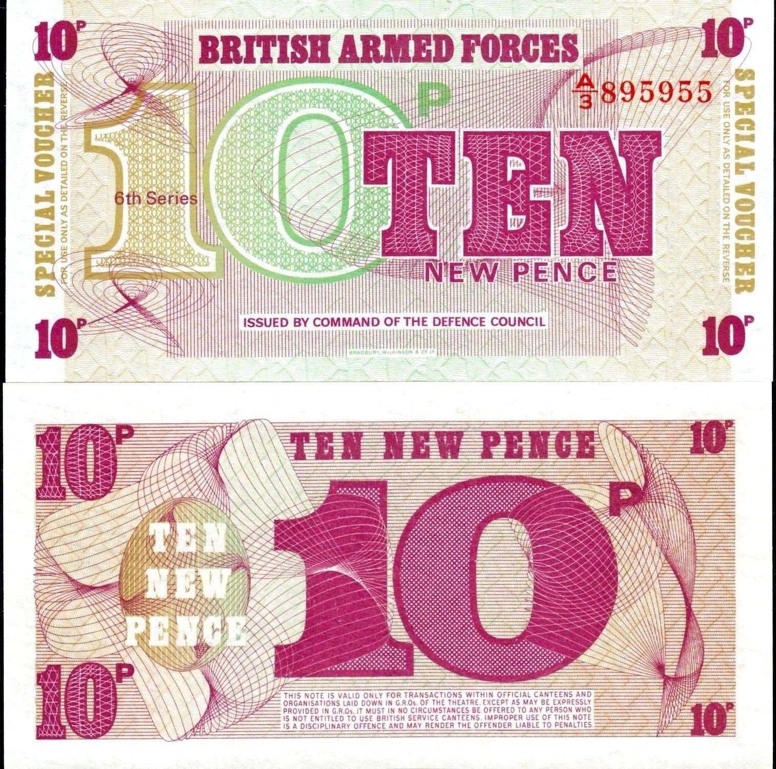 British Armed Forces UK 6th Ser 10 1972 Set of 3 Notes: 5 50 New Pence UNC