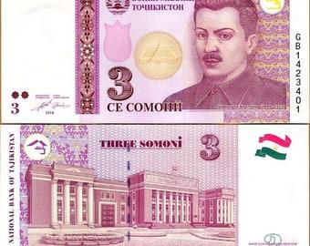 Tajikistan 2010 > 3 Somoni, Banknote UNC > Ex-USSR