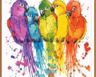 Cross Stitch Kit Parrots M-033