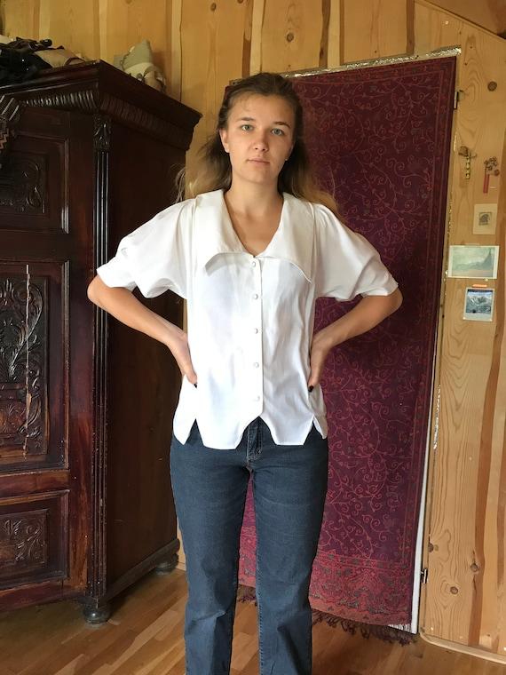 White vintage 70s blouse, half puffy sleeves, shea