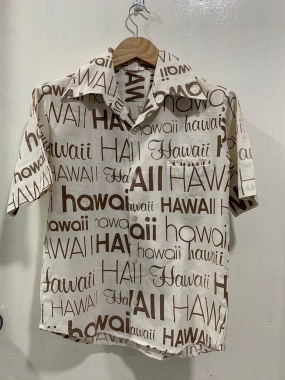 Rare!! Vintage Hawaii Shirt Button Size L Hawaiian