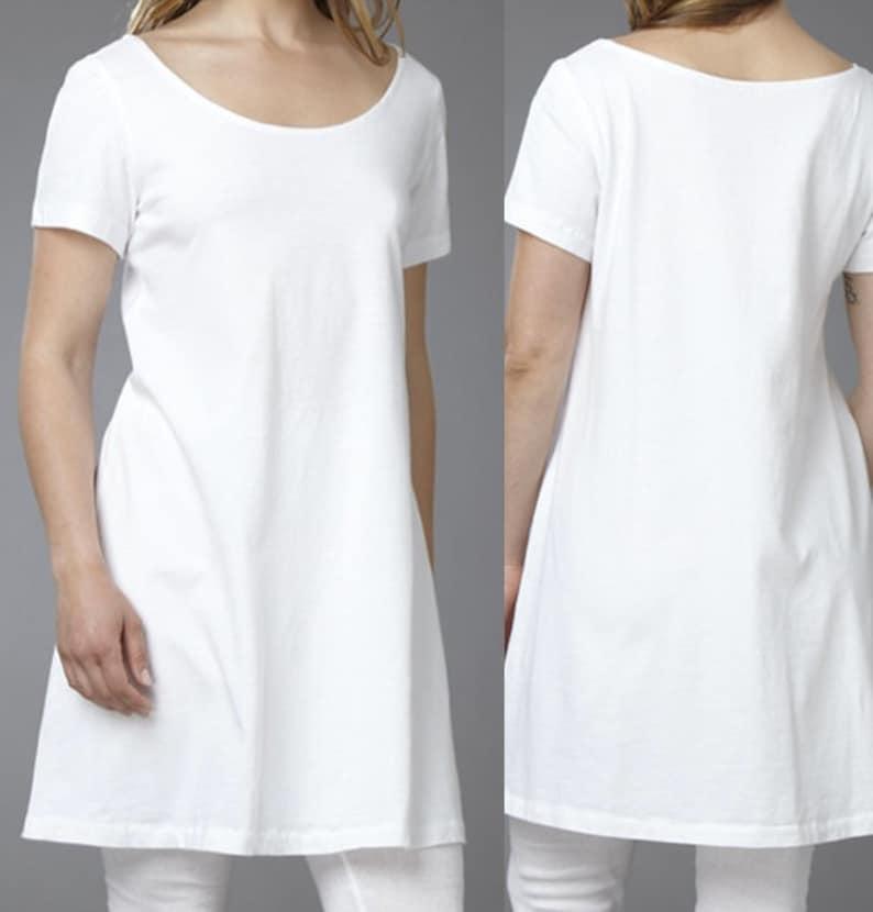 DRESS/TUNIC  Short Sleeve 100% White Cotton image 0