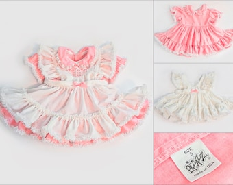 4c3361a5c7 Vintage PAZAZZ Baby/Toddler Two Piece Layered Party Dress With Pink Frills  & Lace - Full Circle Ruffled Pageant Dress - USA Small