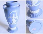 Vintage Powder Blue Jasperware Vase - Norleans Japan White Cameo Decorative Pottery - Victorian Style, Shabby Chic, Cottage Decor