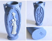 Vintage Small Powder Blue Jasperware White Cameo Decorative Vase - Made In Japan - Country Cottage, Shabby Chic Decor