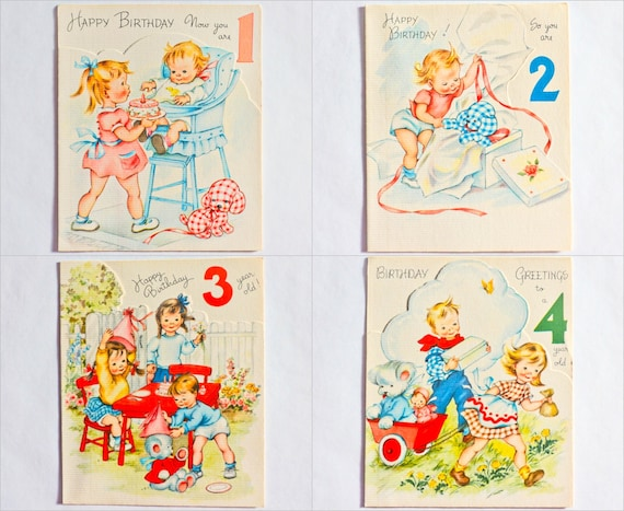 Vintage Unused Baby Birthday Card Choose For One Two