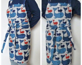 Kids apron, whales kids linen apron, blue whales toddler apron, cooking apron for children, apron for kids, ocean nautical apron