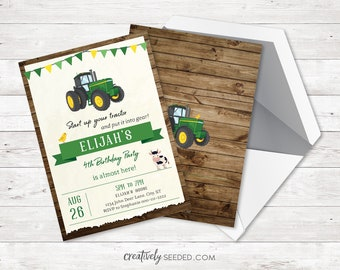 Customized Digital Or Printed 5x7 John Deere Green Tractor Birthday Invitation For Boys Farm Theme Personalized Invite