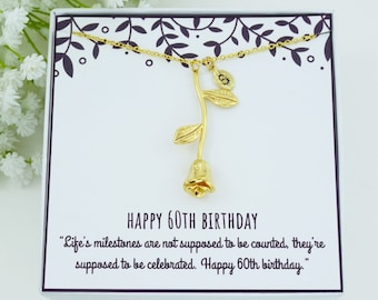 60th Birthday Gift Necklace For Mom Grandmother Aunt Friend Rose Flower NecklaceBirthday