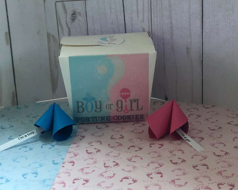 baby shower Gender reveal gender reveal roulette baby announcement fortune cookie paper cookie
